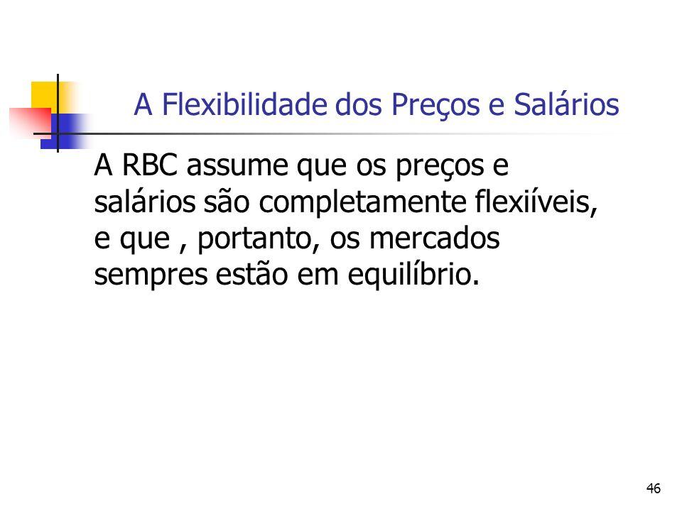 46 A Flexibilidade dos Preços e Salários A RBC assume que os preços e salários são completamente flexiíveis, e que, portanto, os mercados sempres estã