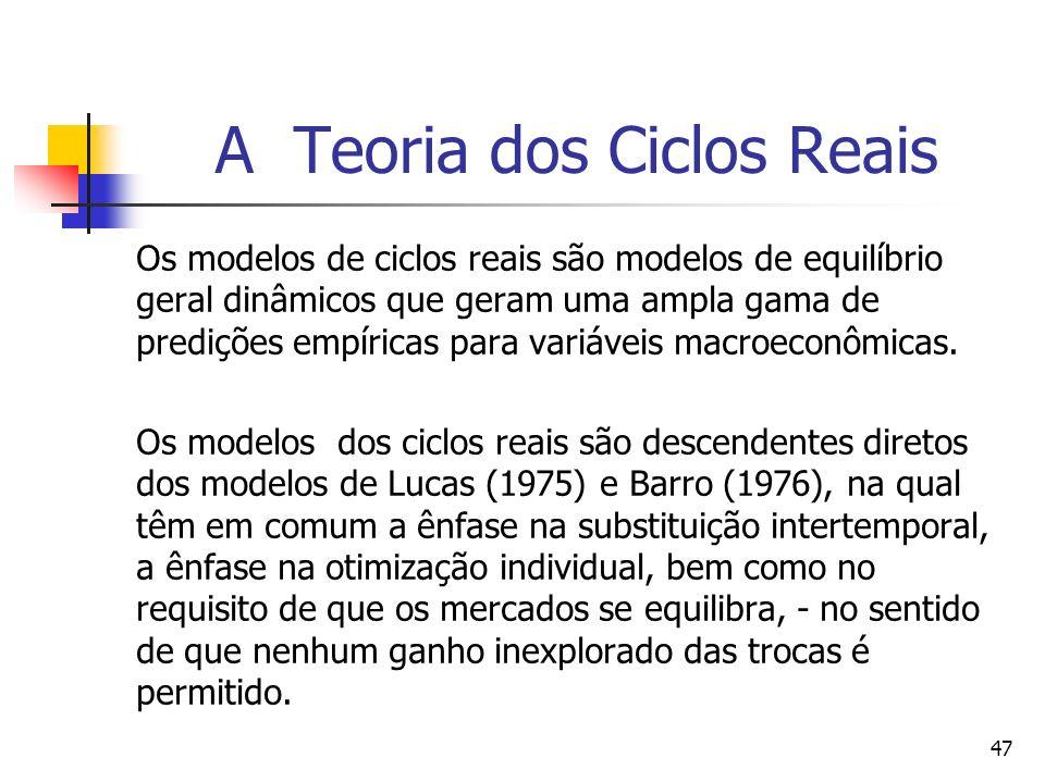 47 A Teoria dos Ciclos Reais Os modelos de ciclos reais são modelos de equilíbrio geral dinâmicos que geram uma ampla gama de predições empíricas para