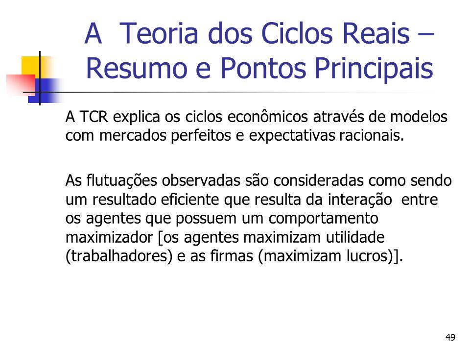 49 A Teoria dos Ciclos Reais – Resumo e Pontos Principais A TCR explica os ciclos econômicos através de modelos com mercados perfeitos e expectativas