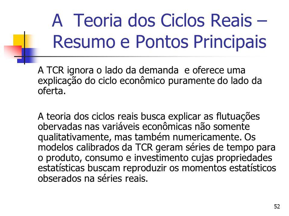 52 A Teoria dos Ciclos Reais – Resumo e Pontos Principais A TCR ignora o lado da demanda e oferece uma explicação do ciclo econômico puramente do lado