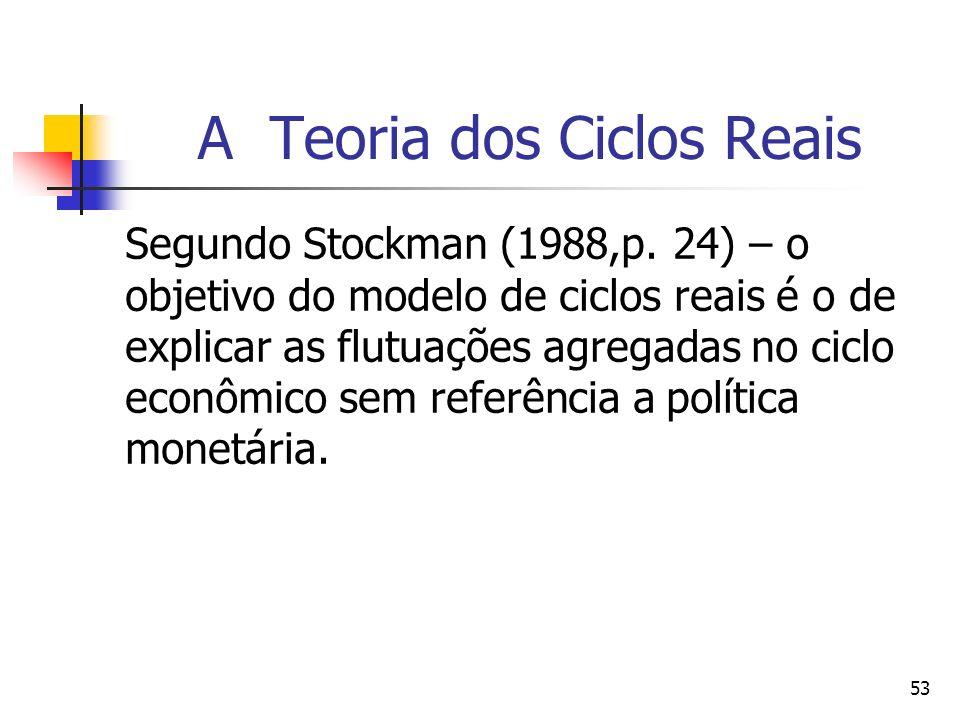 53 A Teoria dos Ciclos Reais Segundo Stockman (1988,p. 24) – o objetivo do modelo de ciclos reais é o de explicar as flutuações agregadas no ciclo eco