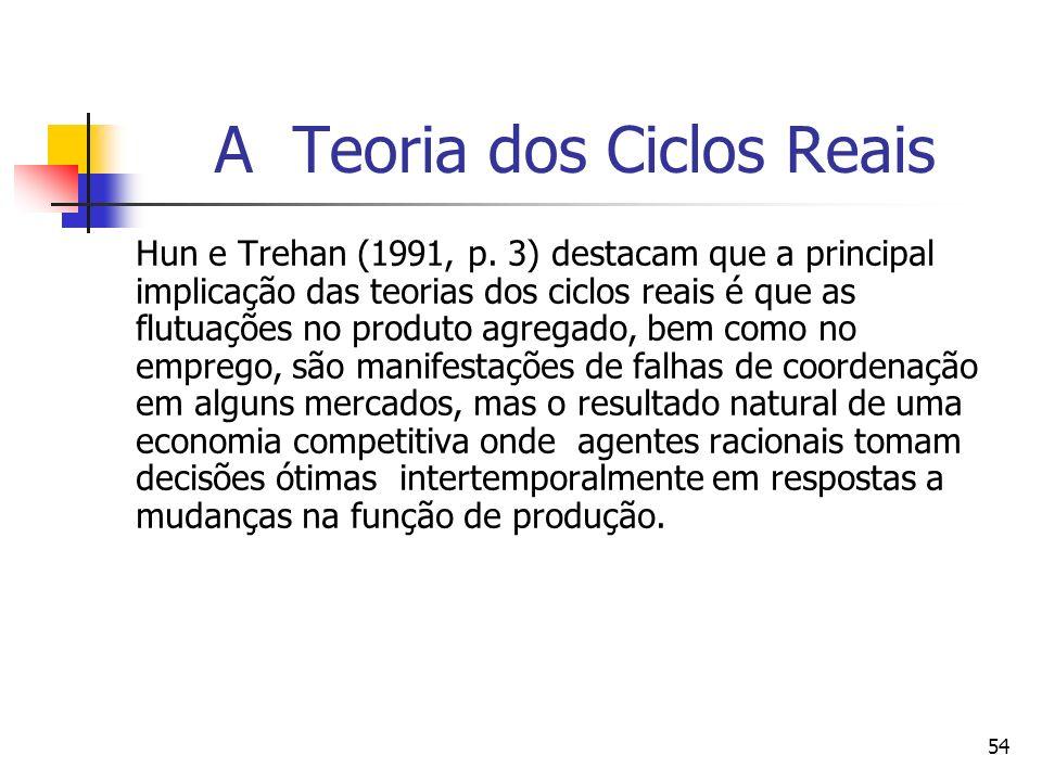 54 A Teoria dos Ciclos Reais Hun e Trehan (1991, p. 3) destacam que a principal implicação das teorias dos ciclos reais é que as flutuações no produto