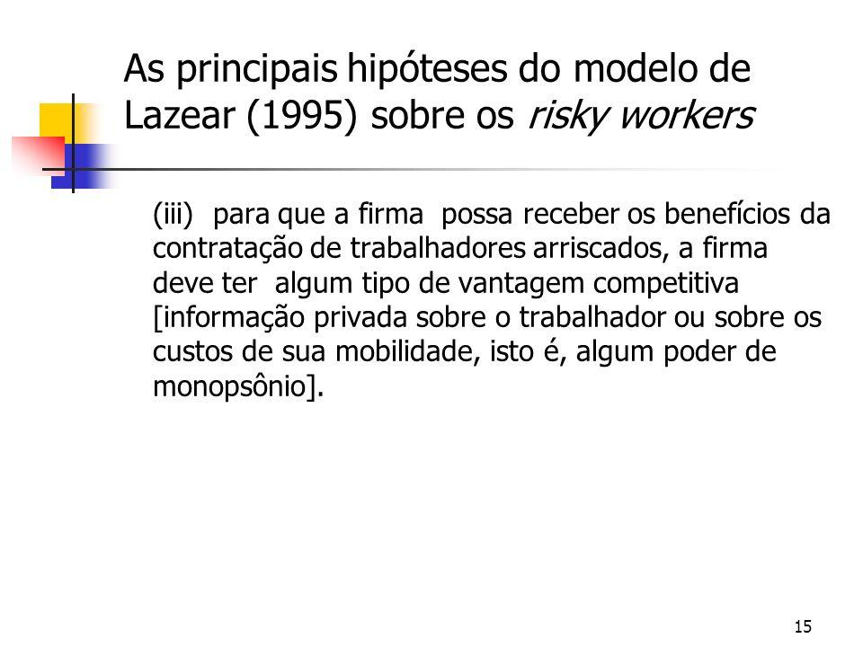 15 As principais hipóteses do modelo de Lazear (1995) sobre os risky workers (iii) para que a firma possa receber os benefícios da contratação de trabalhadores arriscados, a firma deve ter algum tipo de vantagem competitiva [informação privada sobre o trabalhador ou sobre os custos de sua mobilidade, isto é, algum poder de monopsônio].