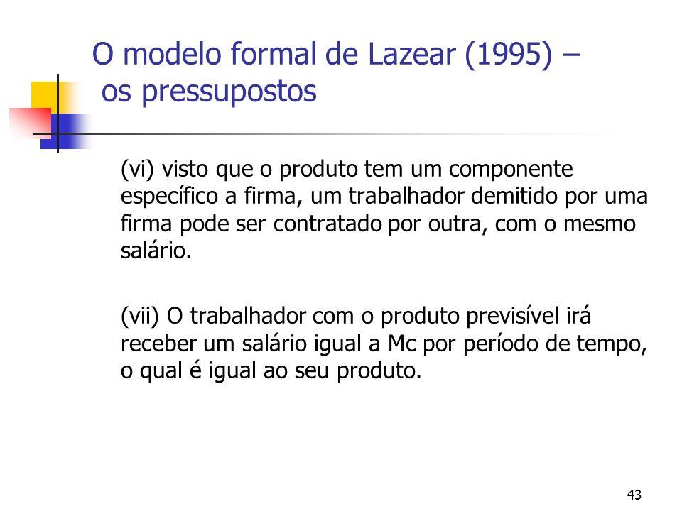 43 O modelo formal de Lazear (1995) – os pressupostos (vi) visto que o produto tem um componente específico a firma, um trabalhador demitido por uma firma pode ser contratado por outra, com o mesmo salário.