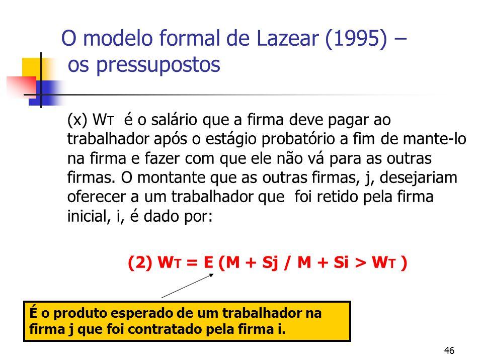 46 O modelo formal de Lazear (1995) – os pressupostos (x) W T é o salário que a firma deve pagar ao trabalhador após o estágio probatório a fim de mante-lo na firma e fazer com que ele não vá para as outras firmas.