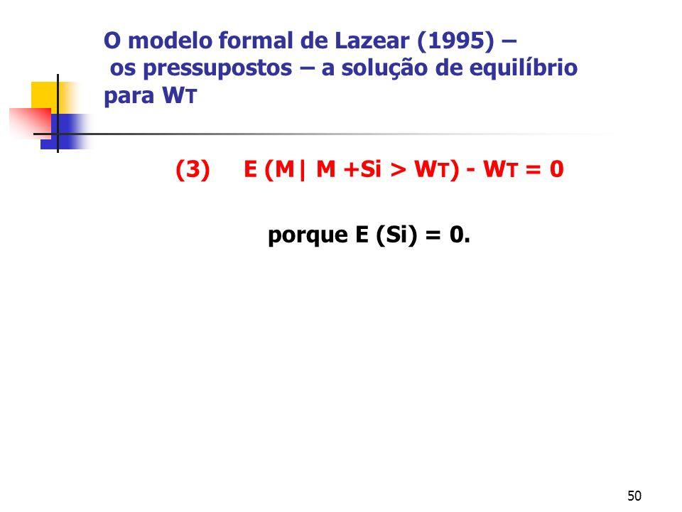 50 O modelo formal de Lazear (1995) – os pressupostos – a solução de equilíbrio para W T (3) E (M| M +Si > W T ) - W T = 0 porque E (Si) = 0.