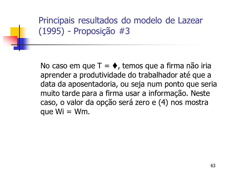 63 Principais resultados do modelo de Lazear (1995) - Proposição #3 No caso em que T =, temos que a firma não iria aprender a produtividade do trabalhador até que a data da aposentadoria, ou seja num ponto que seria muito tarde para a firma usar a informação.