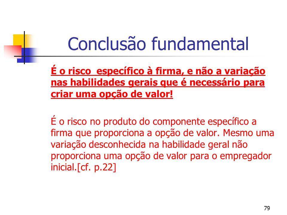 79 Conclusão fundamental É o risco específico à firma, e não a variação nas habilidades gerais que é necessário para criar uma opção de valor.