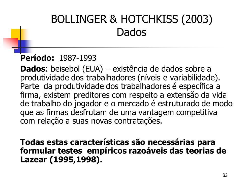 83 BOLLINGER & HOTCHKISS (2003) Dados Período: 1987-1993 Dados: beisebol (EUA) – existência de dados sobre a produtividade dos trabalhadores (níveis e variabilidade).