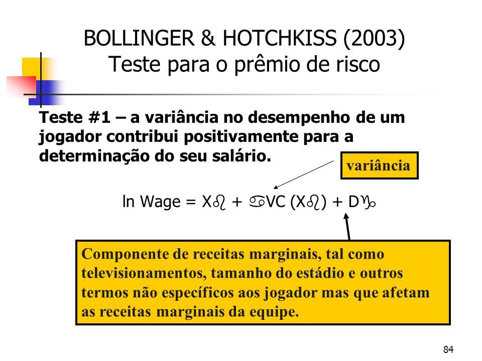 84 BOLLINGER & HOTCHKISS (2003) Teste para o prêmio de risco Teste #1 – a variância no desempenho de um jogador contribui positivamente para a determinação do seu salário.