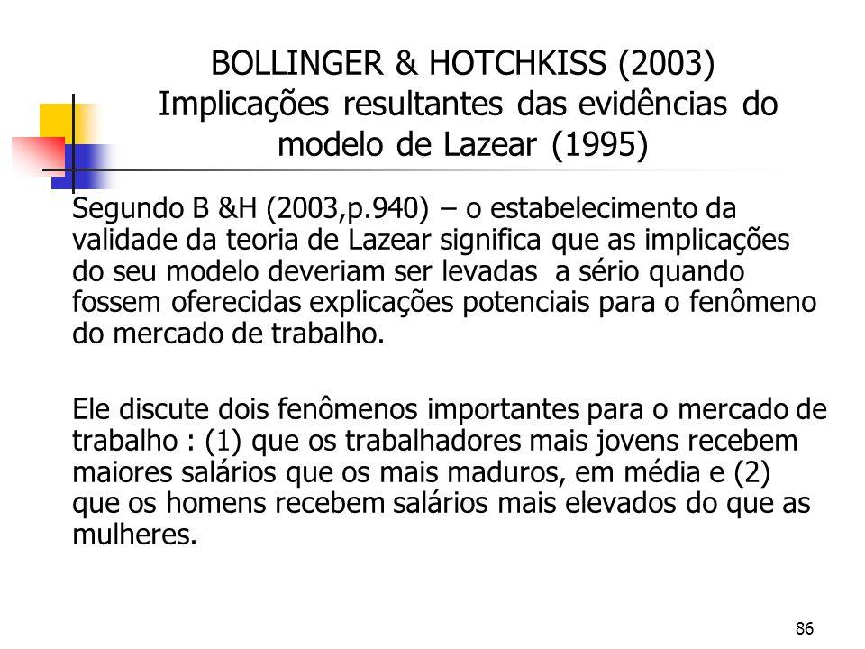 86 BOLLINGER & HOTCHKISS (2003) Implicações resultantes das evidências do modelo de Lazear (1995) Segundo B &H (2003,p.940) – o estabelecimento da validade da teoria de Lazear significa que as implicações do seu modelo deveriam ser levadas a sério quando fossem oferecidas explicações potenciais para o fenômeno do mercado de trabalho.