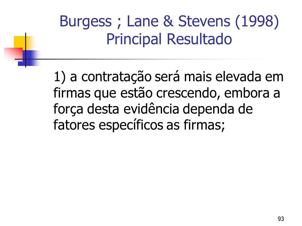93 Burgess ; Lane & Stevens (1998) Principal Resultado 1) a contratação será mais elevada em firmas que estão crescendo, embora a força desta evidência dependa de fatores específicos as firmas;