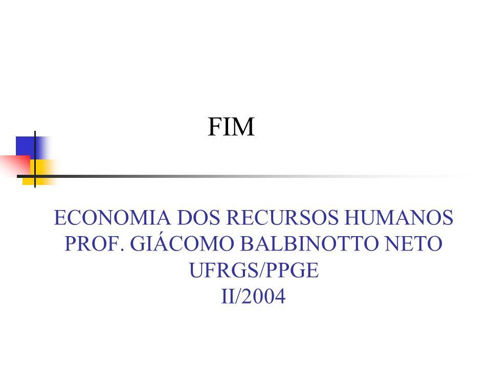 ECONOMIA DOS RECURSOS HUMANOS PROF. GIÁCOMO BALBINOTTO NETO UFRGS/PPGE II/2004 FIM