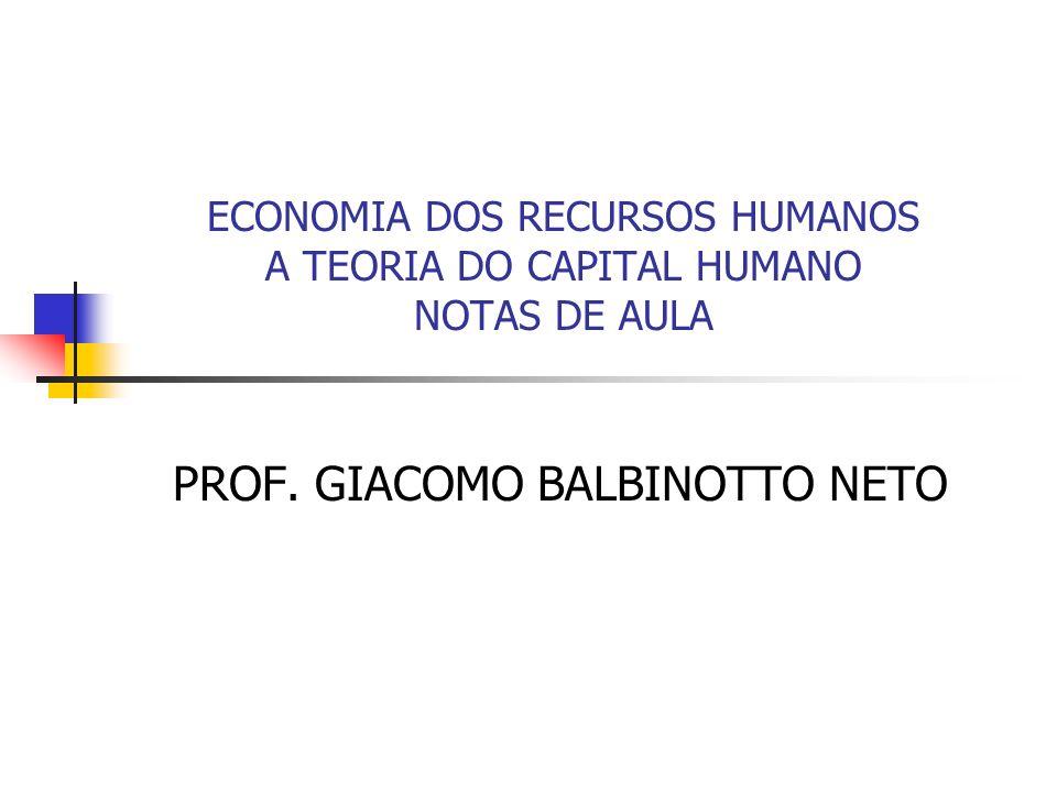 ECONOMIA DOS RECURSOS HUMANOS A TEORIA DO CAPITAL HUMANO NOTAS DE AULA PROF. GIACOMO BALBINOTTO NETO