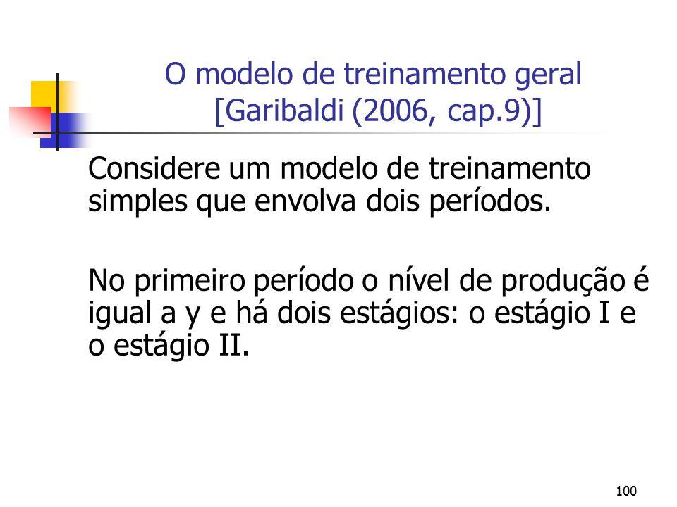 100 O modelo de treinamento geral [Garibaldi (2006, cap.9)] Considere um modelo de treinamento simples que envolva dois períodos. No primeiro período