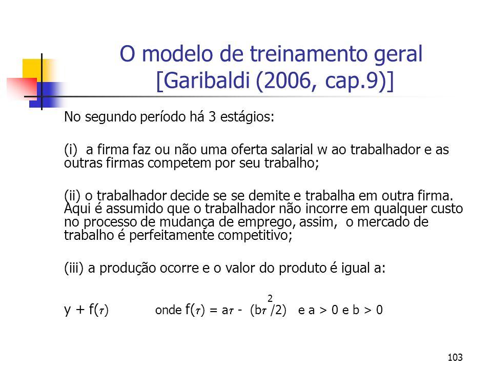 103 O modelo de treinamento geral [Garibaldi (2006, cap.9)] No segundo período há 3 estágios: (i) a firma faz ou não uma oferta salarial w ao trabalha
