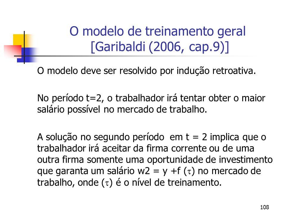 108 O modelo de treinamento geral [Garibaldi (2006, cap.9)] O modelo deve ser resolvido por indução retroativa. No período t=2, o trabalhador irá tent