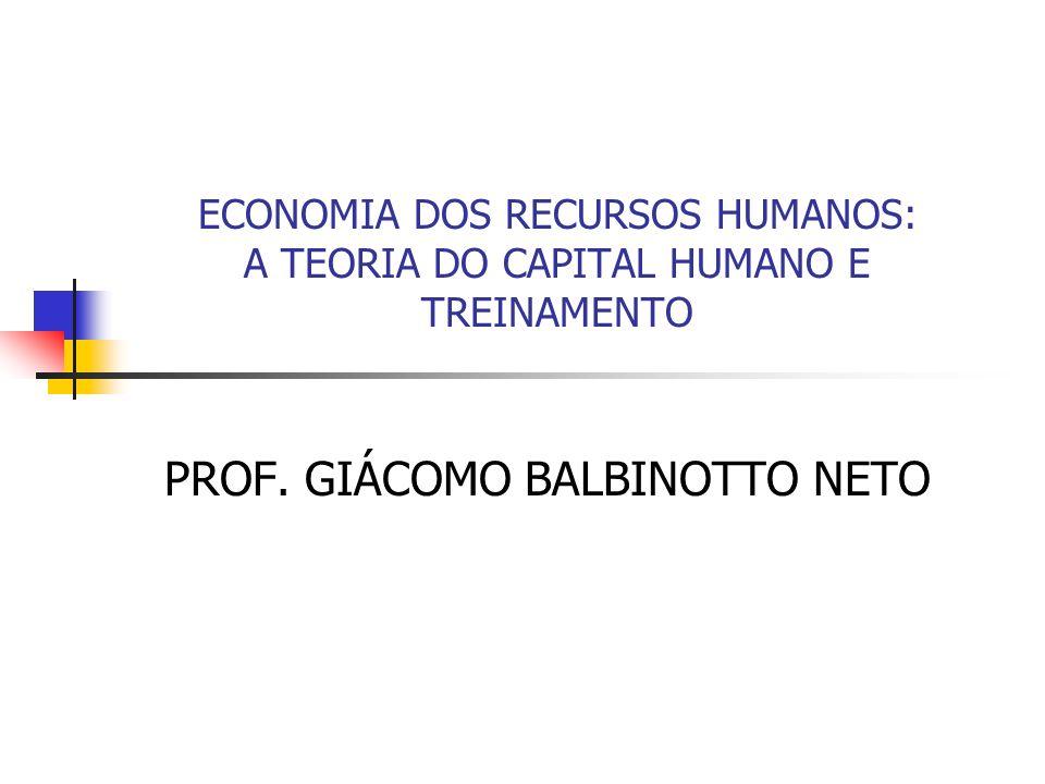 ECONOMIA DOS RECURSOS HUMANOS: A TEORIA DO CAPITAL HUMANO E TREINAMENTO PROF. GIÁCOMO BALBINOTTO NETO