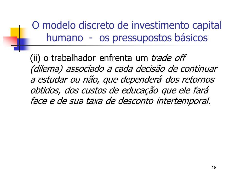 18 O modelo discreto de investimento capital humano - os pressupostos básicos (ii) o trabalhador enfrenta um trade off (dilema) associado a cada decis