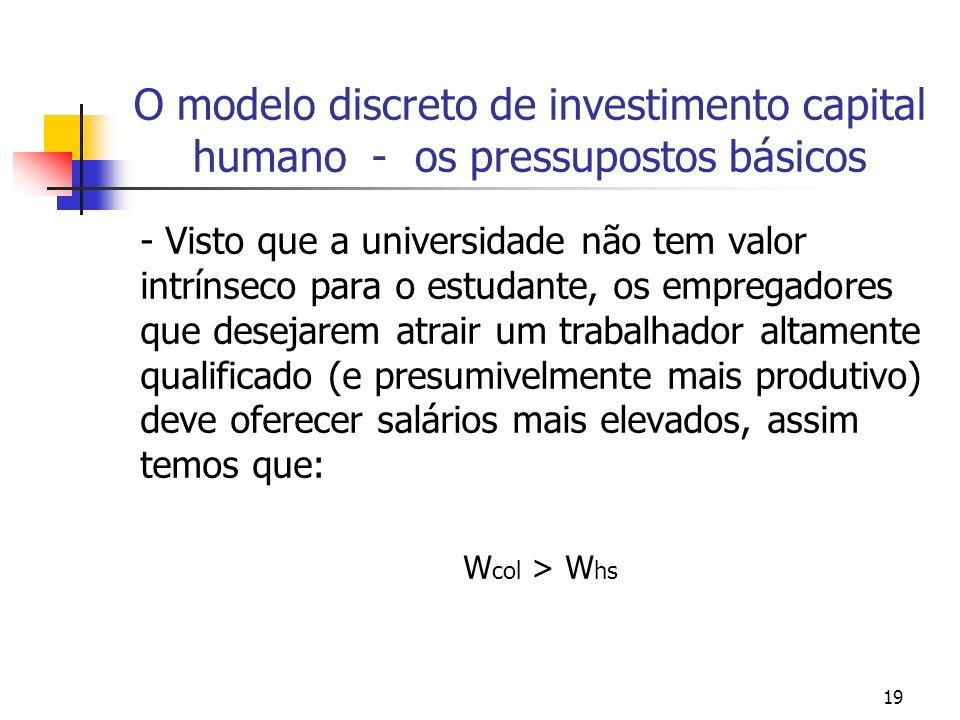 19 O modelo discreto de investimento capital humano - os pressupostos básicos - Visto que a universidade não tem valor intrínseco para o estudante, os