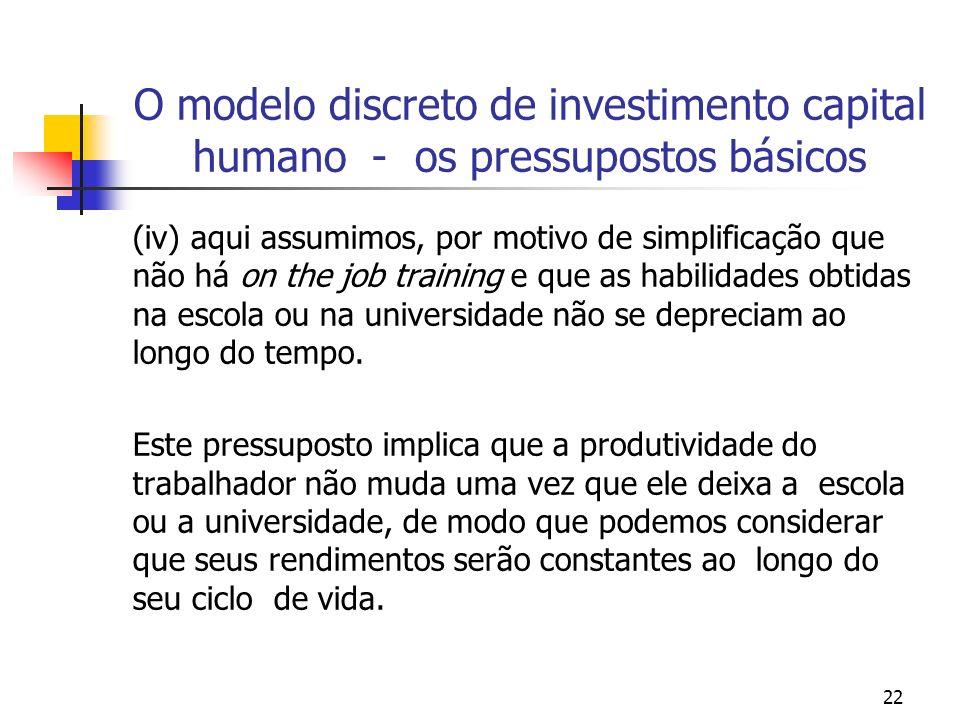22 O modelo discreto de investimento capital humano - os pressupostos básicos (iv) aqui assumimos, por motivo de simplificação que não há on the job t