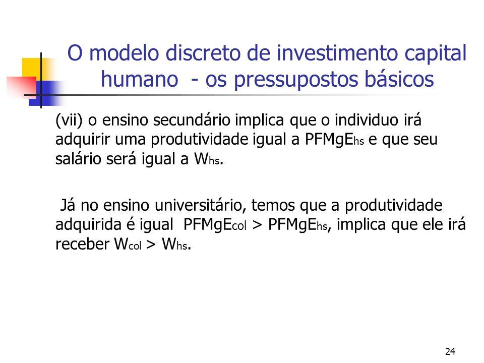 24 O modelo discreto de investimento capital humano - os pressupostos básicos (vii) o ensino secundário implica que o individuo irá adquirir uma produ
