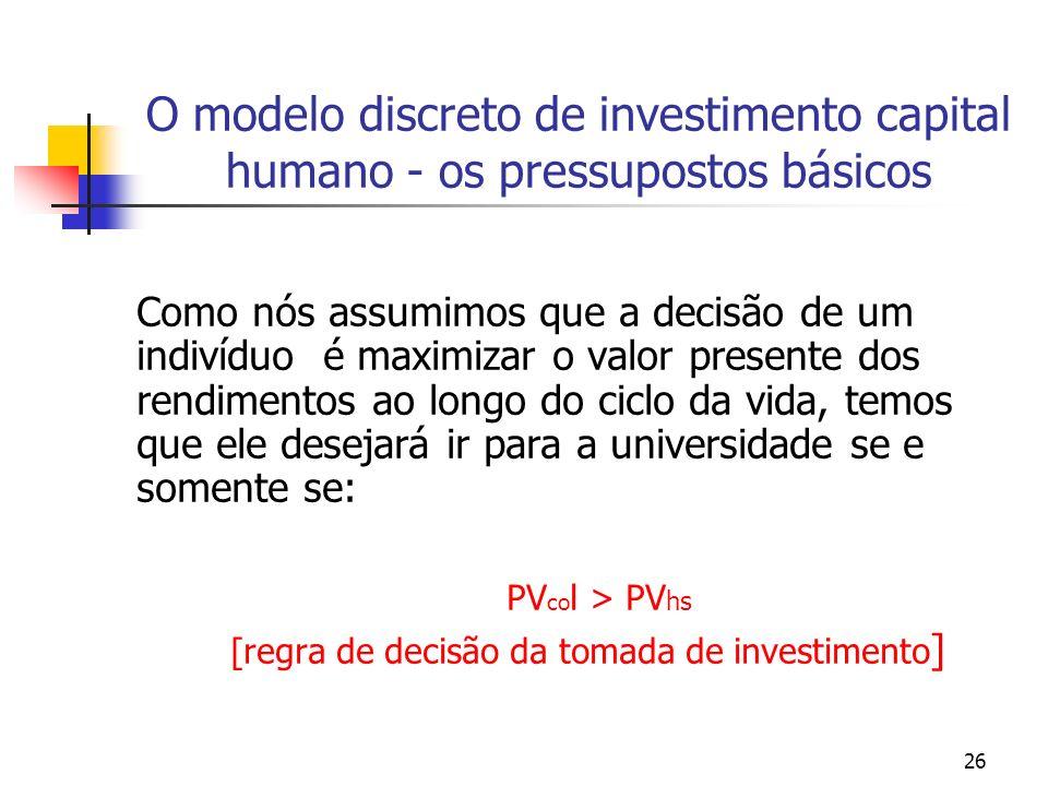 26 O modelo discreto de investimento capital humano - os pressupostos básicos Como nós assumimos que a decisão de um indivíduo é maximizar o valor pre