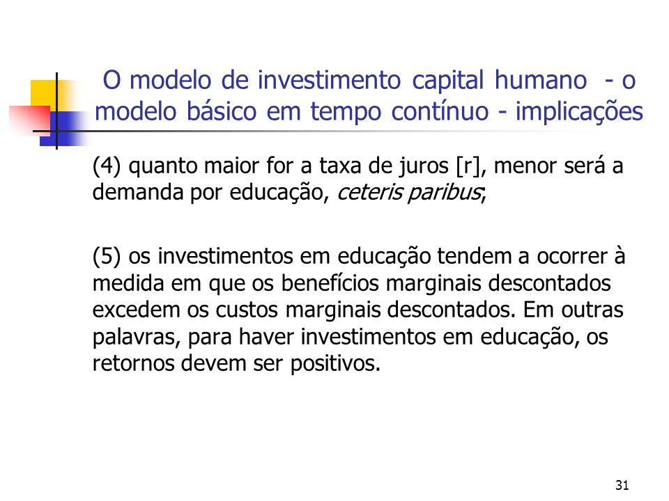 31 O modelo de investimento capital humano - o modelo básico em tempo contínuo - implicações (4) quanto maior for a taxa de juros [r], menor será a de
