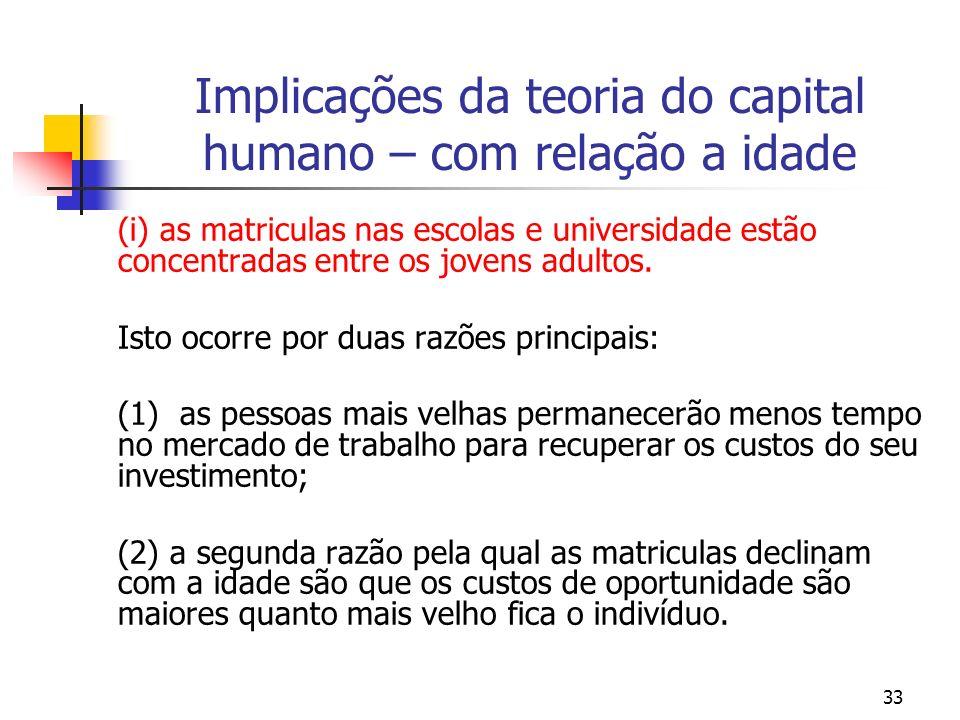 33 Implicações da teoria do capital humano – com relação a idade (i) as matriculas nas escolas e universidade estão concentradas entre os jovens adult