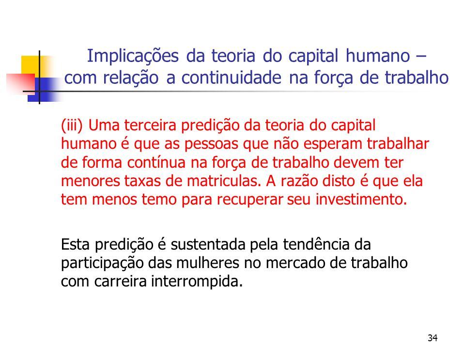 34 Implicações da teoria do capital humano – com relação a continuidade na força de trabalho (iii) Uma terceira predição da teoria do capital humano é