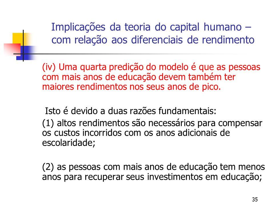35 Implicações da teoria do capital humano – com relação aos diferenciais de rendimento (iv) Uma quarta predição do modelo é que as pessoas com mais a
