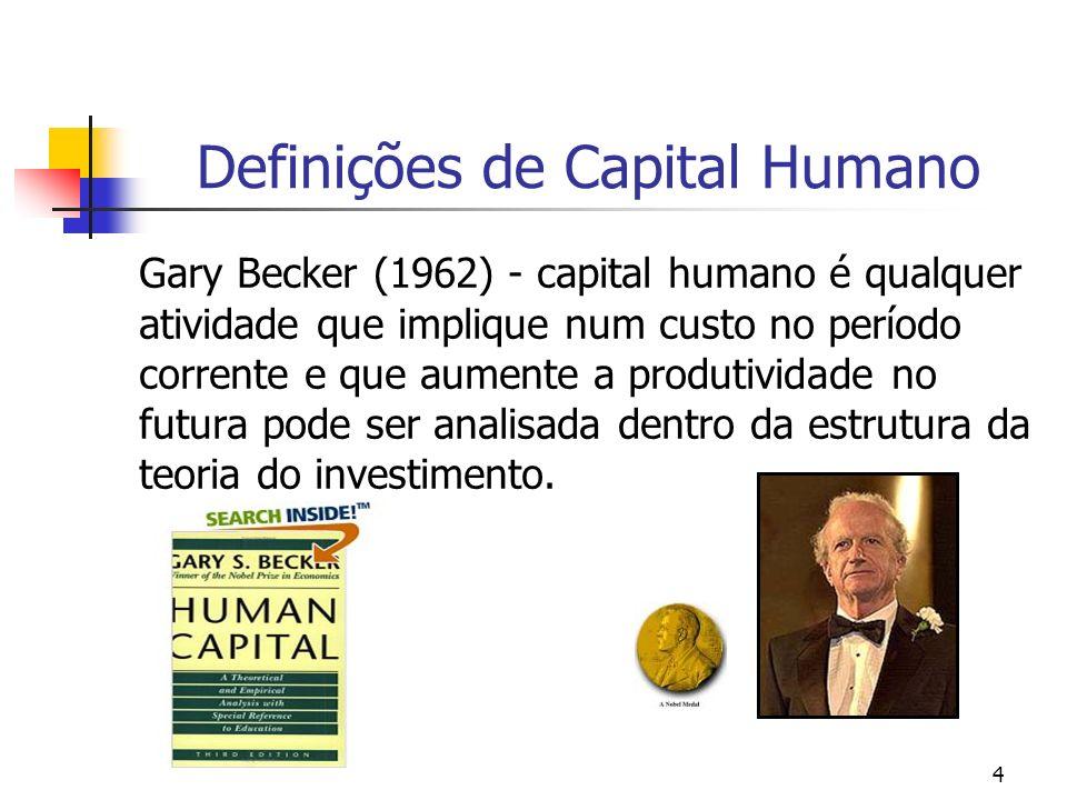 4 Definições de Capital Humano Gary Becker (1962) - capital humano é qualquer atividade que implique num custo no período corrente e que aumente a pro