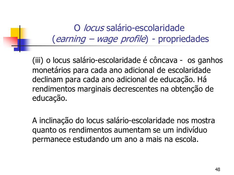 48 O locus salário-escolaridade (earning – wage profile) - propriedades (iii) o locus salário-escolaridade é côncava - os ganhos monetários para cada