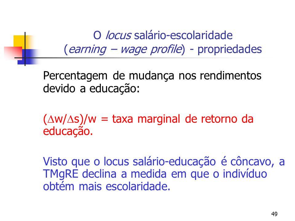 49 O locus salário-escolaridade (earning – wage profile) - propriedades Percentagem de mudança nos rendimentos devido a educação: ( w/ s)/w = taxa mar