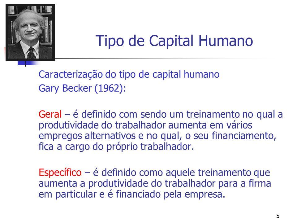 5 Tipo de Capital Humano Caracterização do tipo de capital humano Gary Becker (1962): Geral – é definido com sendo um treinamento no qual a produtivid