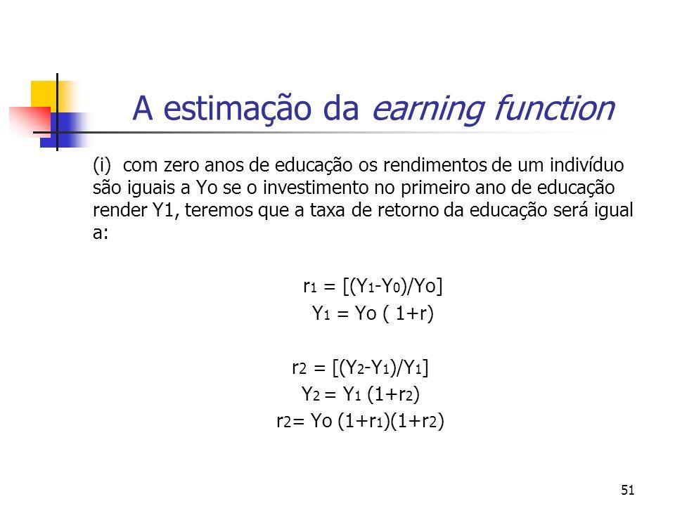 51 A estimação da earning function (i) com zero anos de educação os rendimentos de um indivíduo são iguais a Yo se o investimento no primeiro ano de e