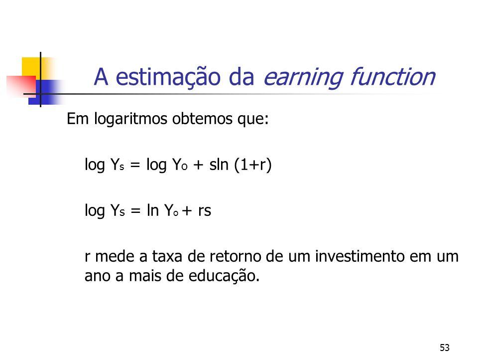 53 A estimação da earning function Em logaritmos obtemos que: log Y s = log Y o + sln (1+r) log Y s = ln Y o + rs r mede a taxa de retorno de um inves