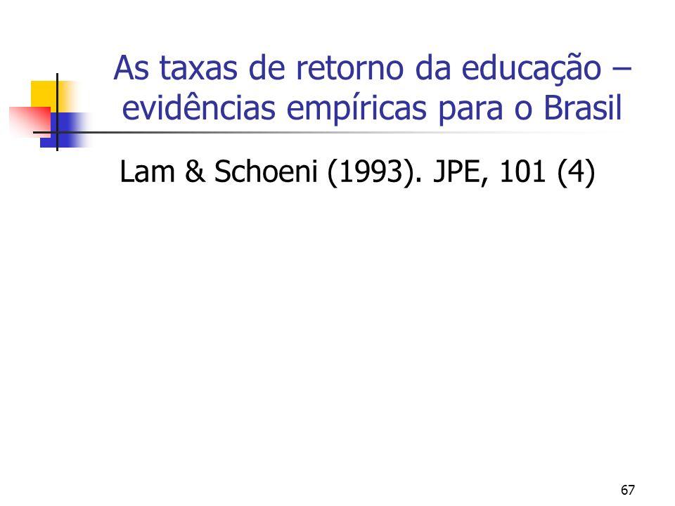 67 As taxas de retorno da educação – evidências empíricas para o Brasil Lam & Schoeni (1993). JPE, 101 (4)