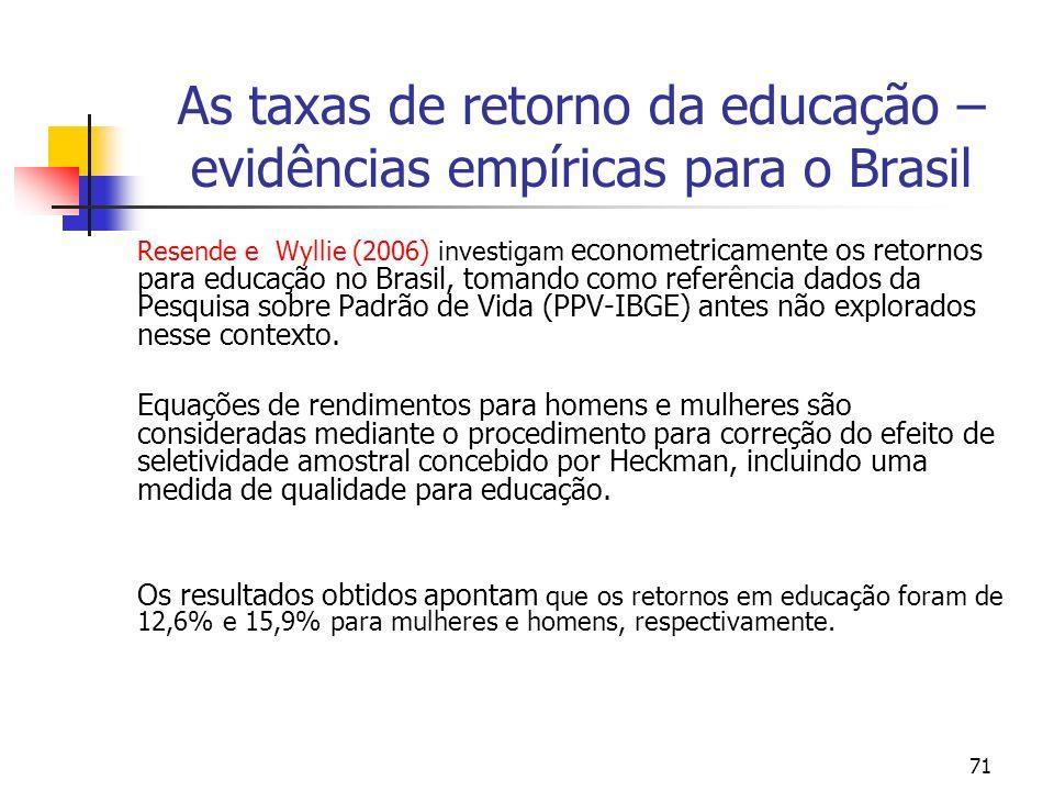 71 As taxas de retorno da educação – evidências empíricas para o Brasil Resende e Wyllie (2006) investigam econometricamente os retornos para educação