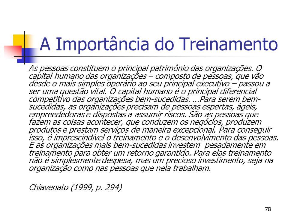 78 A Importância do Treinamento As pessoas constituem o principal patrimônio das organizações. O capital humano das organizações – composto de pessoas