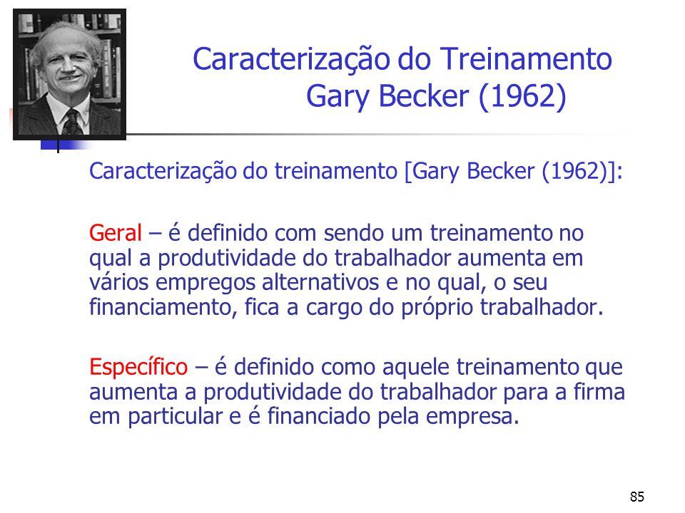 85 Caracterização do Treinamento Gary Becker (1962) Caracterização do treinamento [Gary Becker (1962)]: Geral – é definido com sendo um treinamento no
