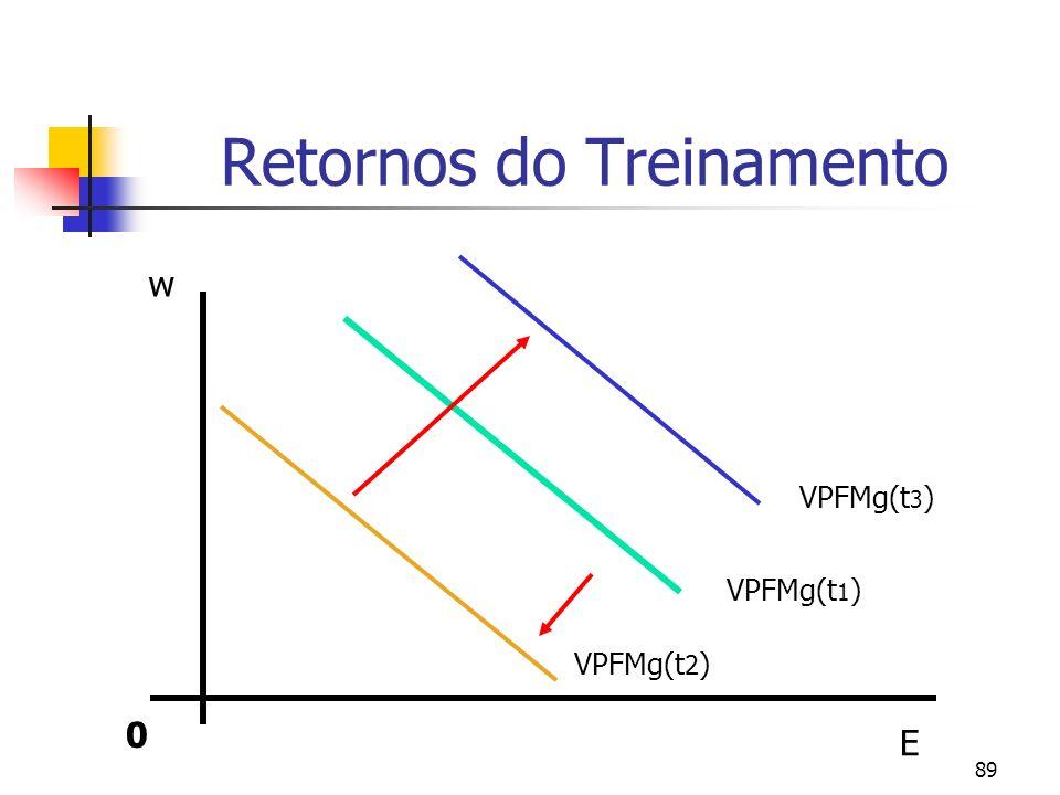 89 Retornos do Treinamento 0 E w VPFMg(t 1 ) VPFMg(t 3 ) VPFMg(t 2 )