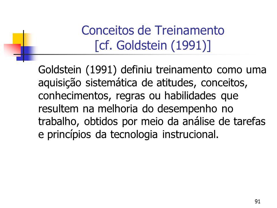 91 Conceitos de Treinamento [cf. Goldstein (1991)] Goldstein (1991) definiu treinamento como uma aquisição sistemática de atitudes, conceitos, conheci