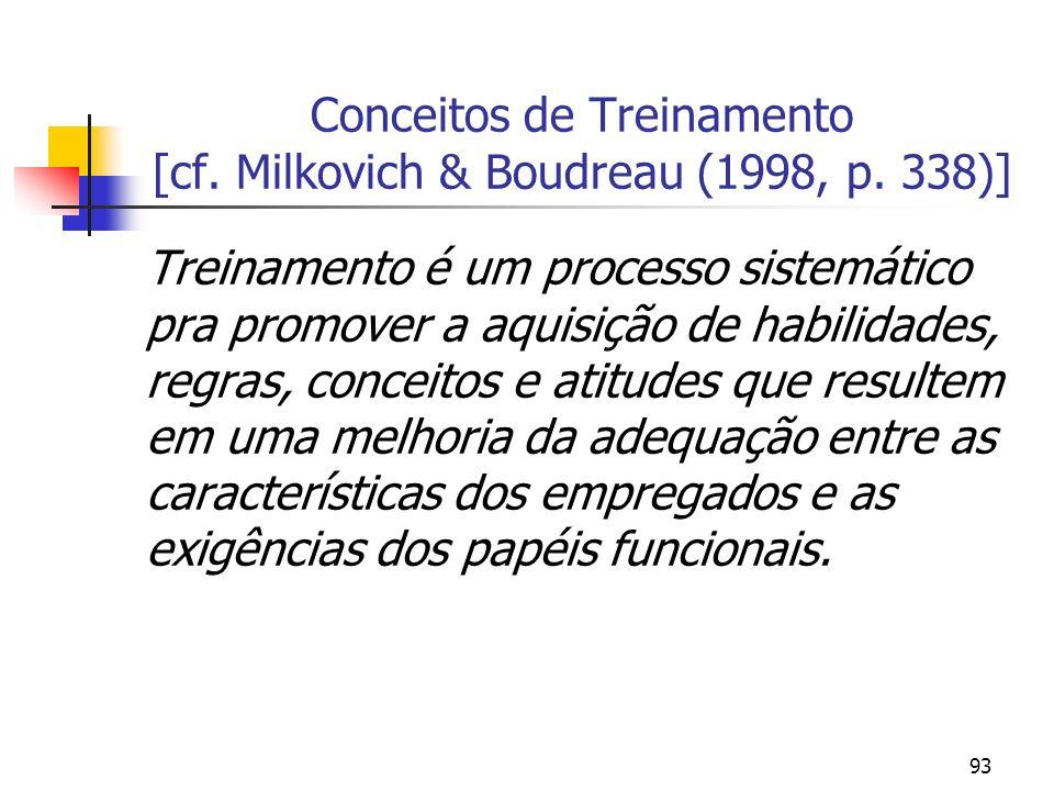 93 Conceitos de Treinamento [cf. Milkovich & Boudreau (1998, p. 338)] Treinamento é um processo sistemático pra promover a aquisição de habilidades, r