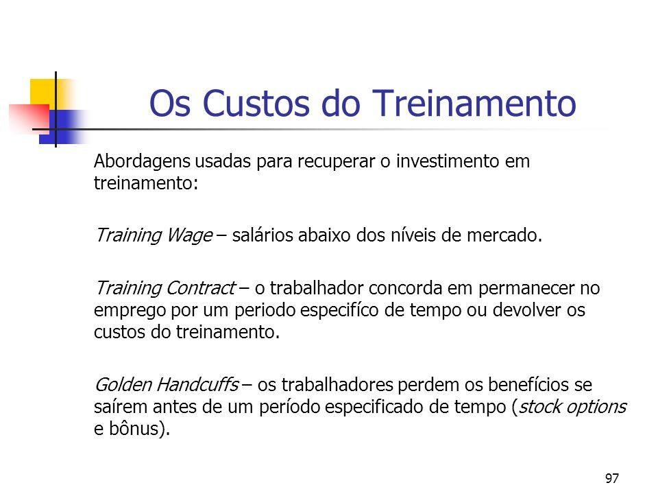 97 Os Custos do Treinamento Abordagens usadas para recuperar o investimento em treinamento: Training Wage – salários abaixo dos níveis de mercado. Tra