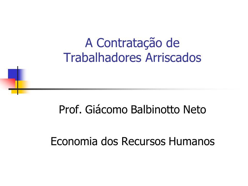 A Contratação de Trabalhadores Arriscados Prof. Giácomo Balbinotto Neto Economia dos Recursos Humanos