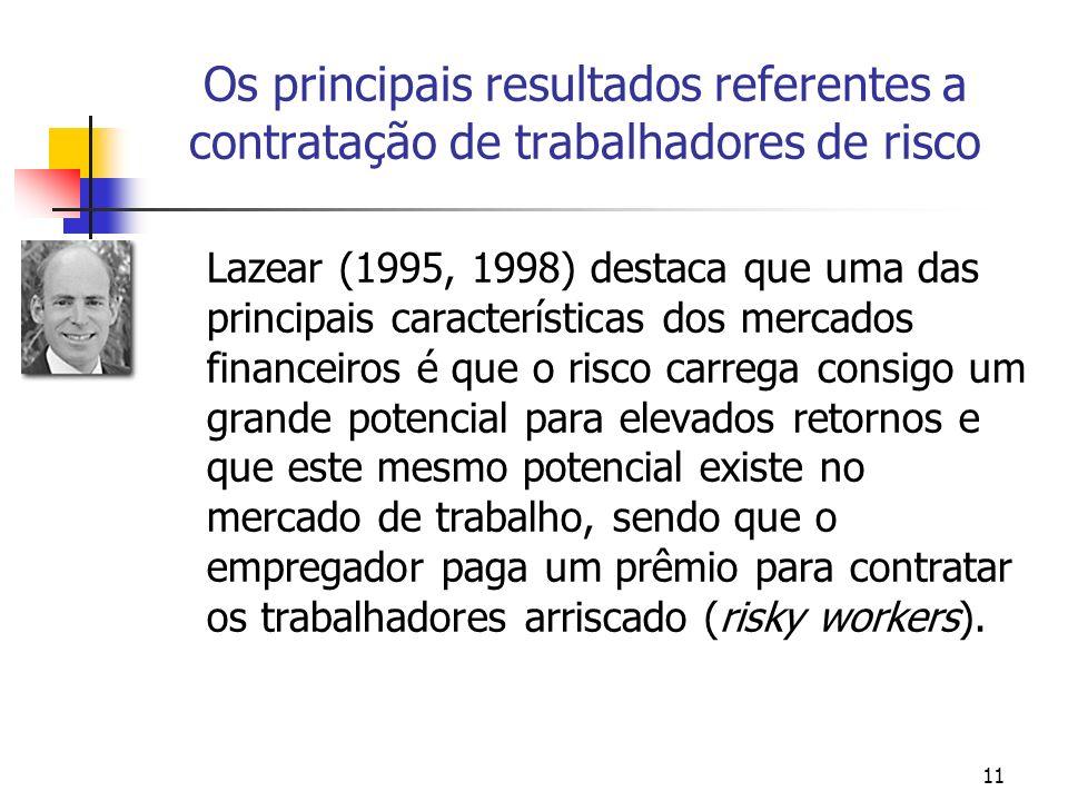 11 Os principais resultados referentes a contratação de trabalhadores de risco Lazear (1995, 1998) destaca que uma das principais características dos mercados financeiros é que o risco carrega consigo um grande potencial para elevados retornos e que este mesmo potencial existe no mercado de trabalho, sendo que o empregador paga um prêmio para contratar os trabalhadores arriscado (risky workers).