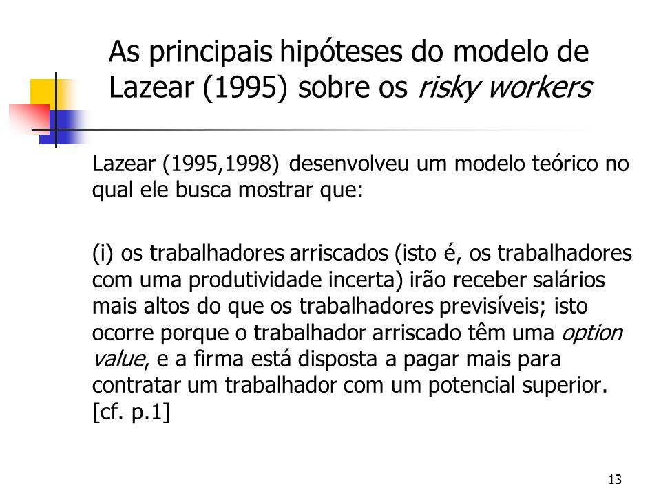 13 As principais hipóteses do modelo de Lazear (1995) sobre os risky workers Lazear (1995,1998) desenvolveu um modelo teórico no qual ele busca mostrar que: (i) os trabalhadores arriscados (isto é, os trabalhadores com uma produtividade incerta) irão receber salários mais altos do que os trabalhadores previsíveis; isto ocorre porque o trabalhador arriscado têm uma option value, e a firma está disposta a pagar mais para contratar um trabalhador com um potencial superior.