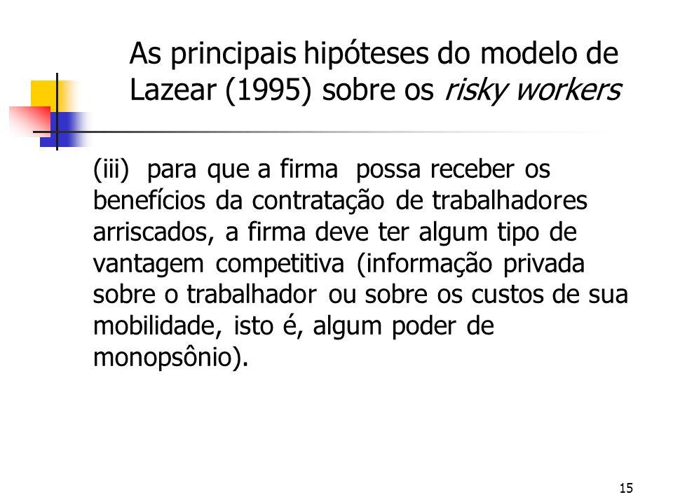 15 As principais hipóteses do modelo de Lazear (1995) sobre os risky workers (iii) para que a firma possa receber os benefícios da contratação de trabalhadores arriscados, a firma deve ter algum tipo de vantagem competitiva (informação privada sobre o trabalhador ou sobre os custos de sua mobilidade, isto é, algum poder de monopsônio).