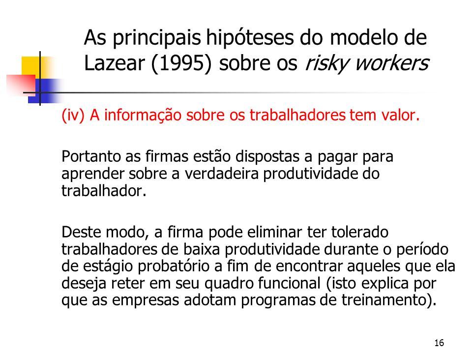 16 As principais hipóteses do modelo de Lazear (1995) sobre os risky workers (iv) A informação sobre os trabalhadores tem valor. Portanto as firmas es